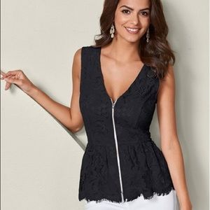 New without tags black lace zip up blouse